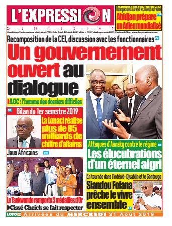 Couverture du Journal L'EXPRESSION N° 2844 du 22/08/2019