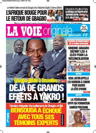 Couverture du Journal LA VOIE ORIGINALE N° 410 du 05/08/2019