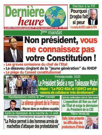 Couverture du Journal DERNIERE HEURE N° 105 du 19/08/2020