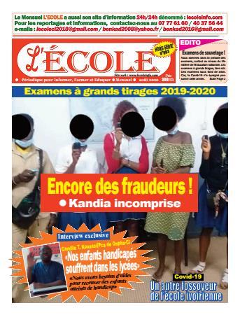 Couverture du Journal L'Ecole N° 3 du 12/08/2020