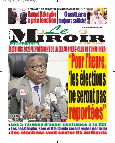 Couverture du Journal LE MIROIR D'ABIDJAN N° 36 du 05/08/2020