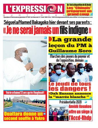Couverture du Journal L'EXPRESSION N° 3091 du 12/08/2020