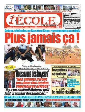 Couverture du Journal L'Ecole N° 9 du 09/09/2019