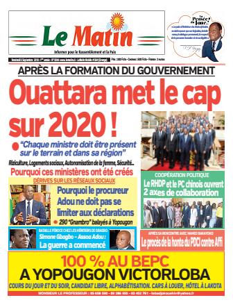 Couverture du Journal LE MATIN N° 44 du 06/09/2019