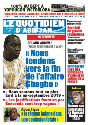 Couverture du Journal LE QUOTIDIEN D'ABIDJAN N° 2673 du 06/09/2019