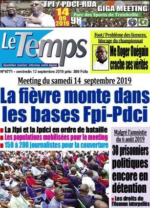 Couverture du Journal LE TEMPS N° 4771 du 13/09/2019