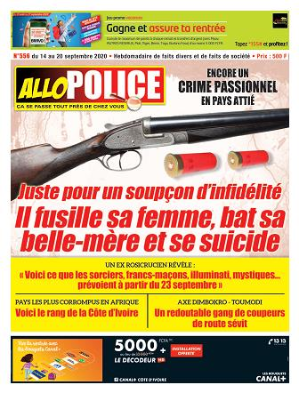 Couverture du Journal ALLO POLICE N° 556 du 14/09/2020