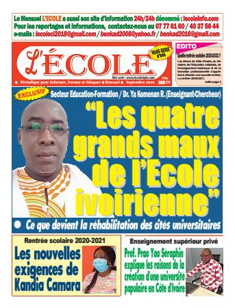 Couverture du Journal L'Ecole N° 4 du 16/09/2020