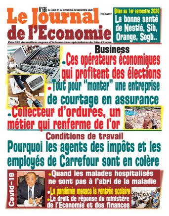 Couverture du Journal LE JOURNAL DE L'ÉCONOMIE N° 586 du 14/09/2020