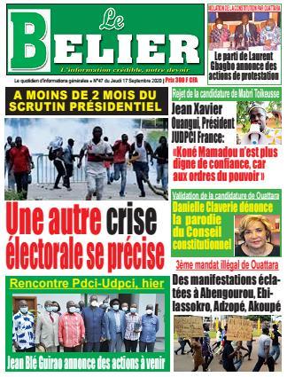 Couverture du Journal LE BELIER N° 48 du 17/09/2020