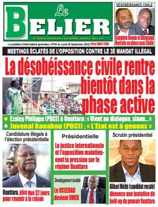 Couverture du Journal LE BELIER N° 55 du 28/09/2020