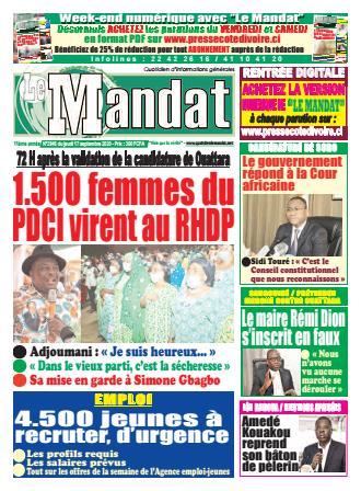 Couverture du Journal LE MANDAT N° 2946 du 17/09/2020