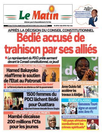 Couverture du Journal LE MATIN N° 343 du 17/09/2020