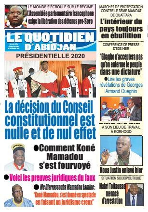 Couverture du Journal LE QUOTIDIEN D'ABIDJAN N° 2928 du 17/09/2020
