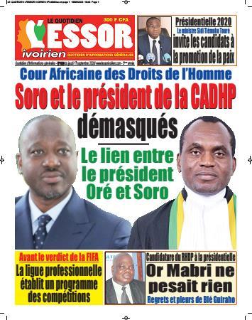 Couverture du Journal L'ESSOR IVOIRIEN N° 440 du 17/09/2020