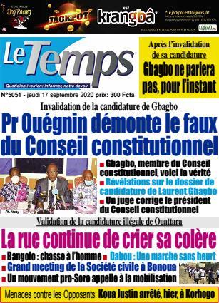 Couverture du Journal LE TEMPS N° 5052 du 17/09/2020