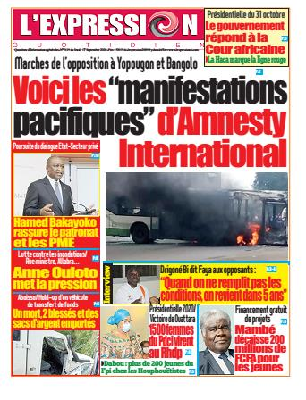 Couverture du Journal L'EXPRESSION N° 3119 du 17/09/2020