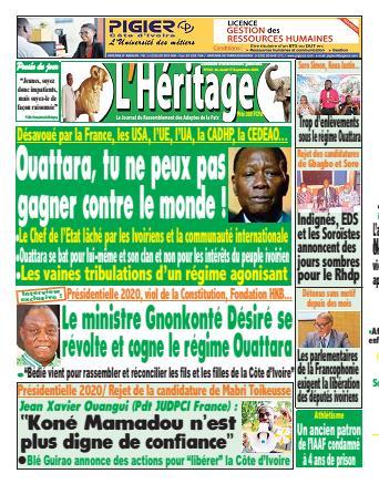 Couverture du Journal L'HÉRITAGE N° 283 du 17/09/2020