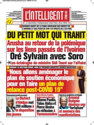 Couverture du Journal L'INTELLIGENT D'ABIDJAN N° 4722 du 17/09/2020