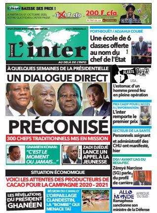 Couverture du Journal L'INTER N° 6671 du 29/09/2020