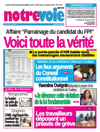 Couverture du Journal NOTRE VOIE N° 6456 du 17/09/2020