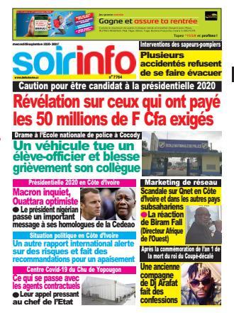 Couverture du Journal SOIR INFO N° 7764 du 09/09/2020