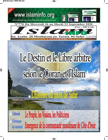 Couverture du Journal ISLAM INFO N° 770 du 17/09/2020