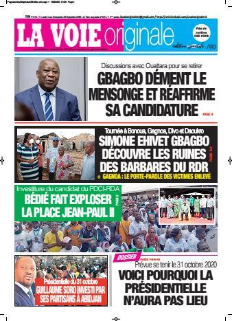 Couverture du Journal LA VOIE ORIGINALE N° 468 du 14/09/2020