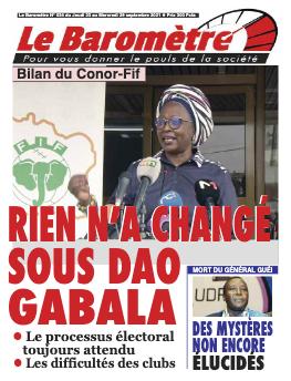 Couverture du Journal LE BAROMETRE N° 34 du 23/09/2021