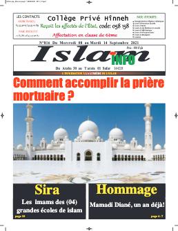 Couverture du Journal ISLAM INFO N° 816 du 09/09/2021