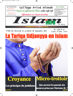 Couverture du Journal ISLAM INFO N° 818 du 23/09/2021