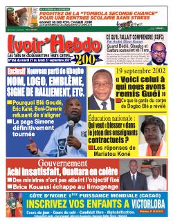 Couverture du Journal IVOIR'HEBDO N° 54 du 21/09/2021