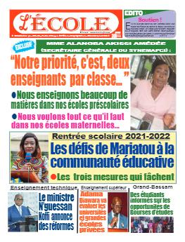 Couverture du Journal L'Ecole N° 45 du 13/09/2021