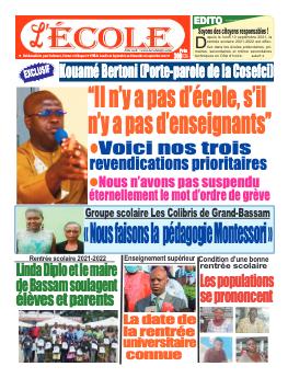 Couverture du Journal L'Ecole N° 46 du 20/09/2021
