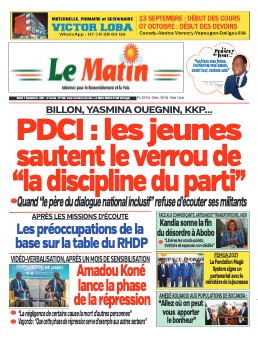 Couverture du Journal LE MATIN N° 630 du 07/09/2021