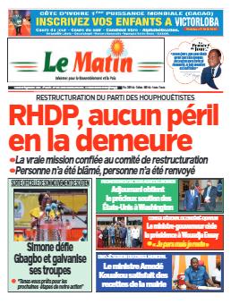 Couverture du Journal LE MATIN N° 646 du 27/09/2021