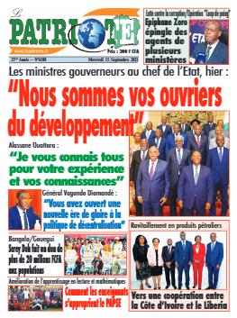 Couverture du Journal LE PATRIOTE N° 6508 du 15/09/2021