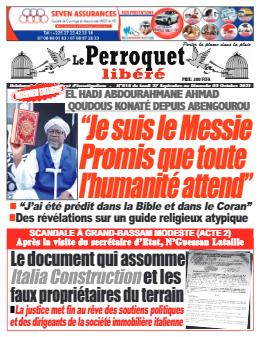 Couverture du Journal LE PERROQUET LIBERE N° 15 du 27/09/2021