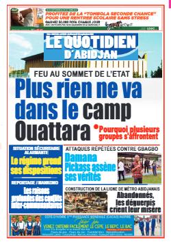 Couverture du Journal LE QUOTIDIEN D'ABIDJAN N° 4020 du 15/09/2021