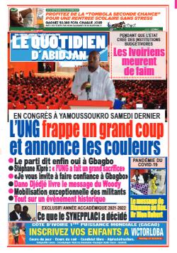 Couverture du Journal LE QUOTIDIEN D'ABIDJAN N° 4026 du 27/09/2021