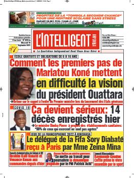 Couverture du Journal L'INTELLIGENT D'ABIDJAN N° 4891 du 15/09/2021