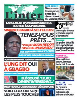 Couverture du Journal L'INTER N° 6965 du 27/09/2021