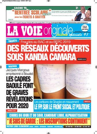 Couverture du Journal LA VOIE ORIGINALE N° 419 du 07/10/2019