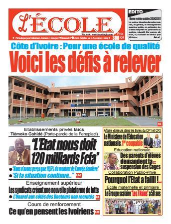 Couverture du Journal L'Ecole N° 10 du 16/10/2019