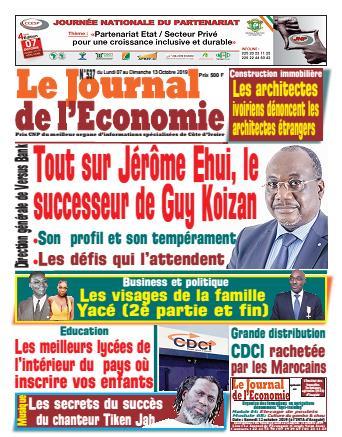 Couverture du Journal LE JOURNAL DE L'ÉCONOMIE N° 537 du 07/10/2019