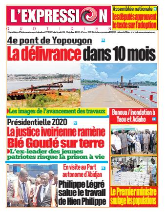 Couverture du Journal L'EXPRESSION N° 2889 du 24/10/2019