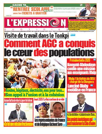 Couverture du Journal L'EXPRESSION N° 2892 du 28/10/2019