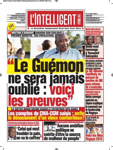 Couverture du Journal L'INTELLIGENT D'ABIDJAN N° 4519 du 07/10/2019