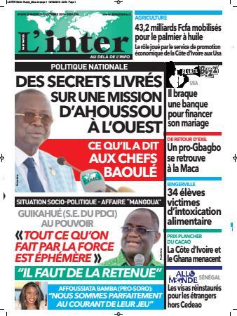 Couverture du Journal L'INTER N° 6387 du 11/10/2019