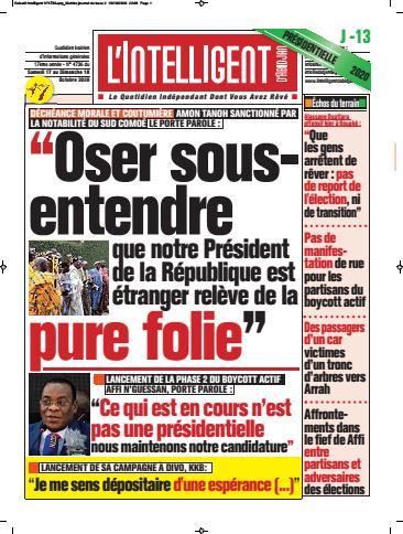 Couverture du Journal L'INTELLIGENT D'ABIDJAN N° 4739 du 17/10/2020